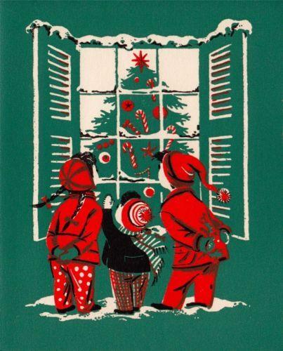Vintage Greeting Card Christmas Children Window Christmas Tree (O490)