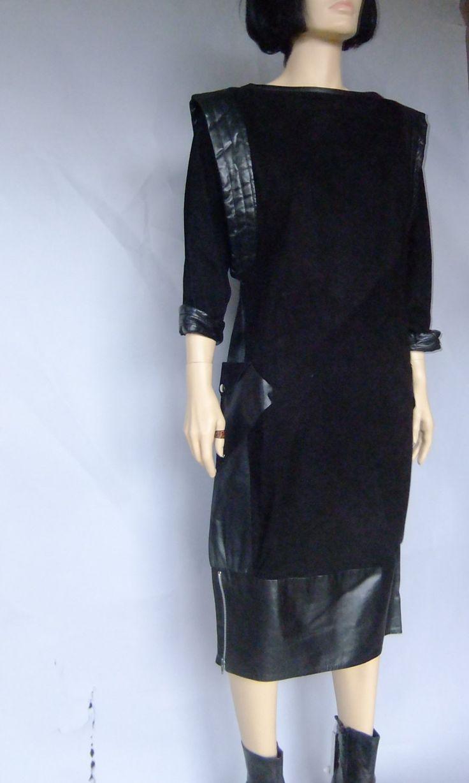 black leather dress, suede dress, modern dress, sack dress, 80s minimalist dress, avant garde by vintage2049 on Etsy