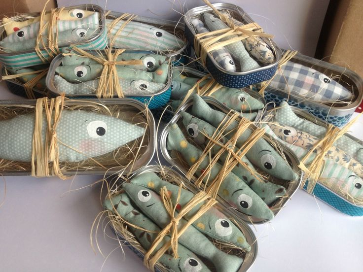 sardine softies - as gifts make them with an aroma such as lavender, lemon thyme or orange and use as drawer scenters