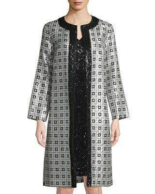 516b97ce32bb02 St. John Collection Designer Metallic Silk Chiffon Metallic-Embellished  Topper Jacket