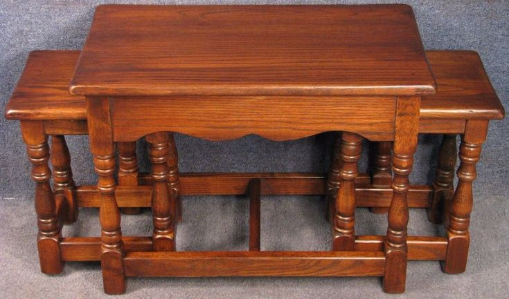 Reprodux Bevan Funnell Period Style Oak Nest Of 3 Coffee / Occasional Tables  #ReproduxBevanFunnell #PeriodStyle