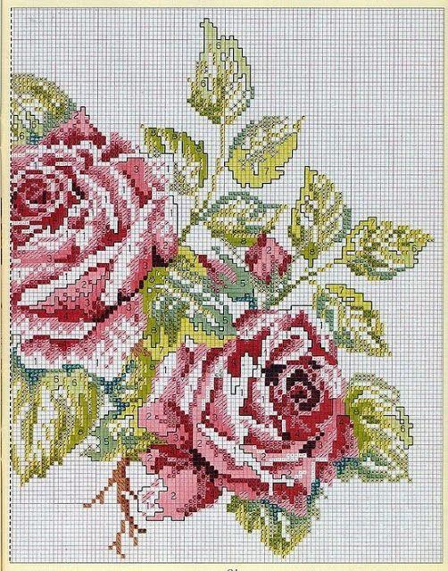 Victoria - Handmade Creations : Κεντημένα τριαντάφυλλα σε μαξιλάρι