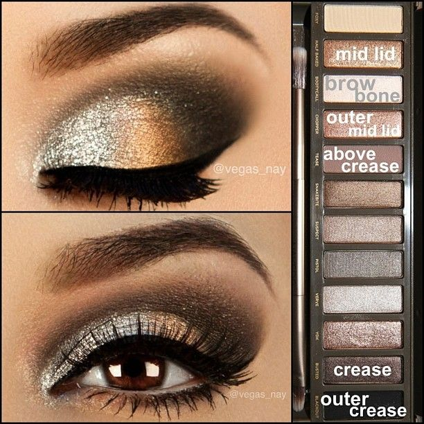 "Using the UD Naked Palette 2: ① apply UD prime potion in Eden & follow with NYX milk pencil on lid & waterline ② apply KRYOLAN aqua color makeup (wet) in 'metallic silver' on inner lid; follow by HALF BAKED in middle lid (wet), then follow w/ CHOPPER on outer mid lid (wet)..this will make colors pop and saturate ③ blend in BUSTED all through crease & apply BLACKOUT to outer crease aka ""V"" ④ blend TEASE above crease to help transition any"