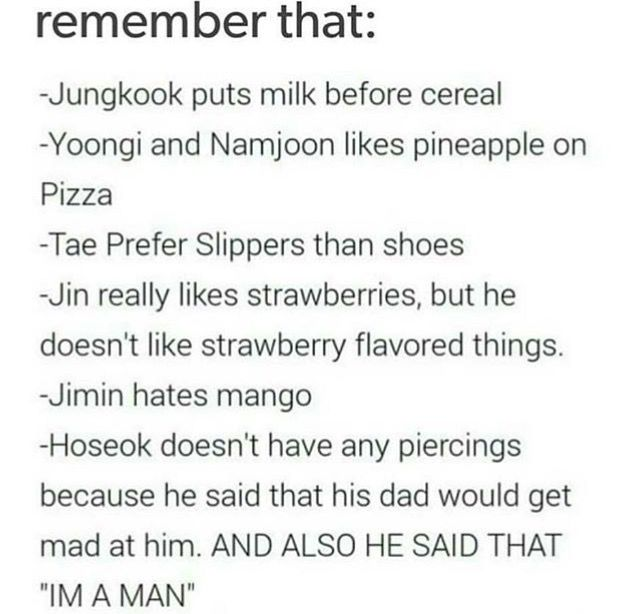 none of them really bothered me exCEPT FUCKING JUNGKOOK WHAT KIND OF FUCKING MONSTER PUTS MILK BEFORE CEREAL WHO THE FUCK HOW'RE YOU SUPPOSED TO GET ALL THE CEREAL IN THE FUCKING BOWL IT'LL ALL SPILL OVER THE FUCKING SIZE YOU'LL GET A SHITTY MILK TO CEREAL RATIO BOI WHAT THE FUCK'RE YOU DOING