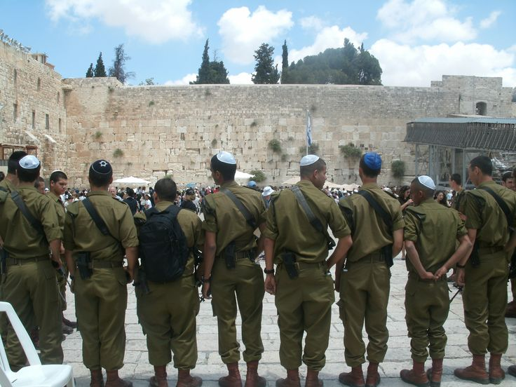 soldiers together western wall