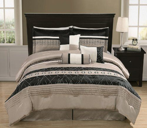 """7Pcs Queen Dustin Grey Bedding Comforter Set by KingLinen. $69.99. This luxury modern comforter set features emobroidery and pleated on grey faux silkground . Great for any bedroom. 3 decorative pillows included.FeaturesSize: QueenColor: Grey/Black/Ivory100% PolyesterMachine washableThis set includes:1 Comforter (86""""x86"""")2 Shams (20""""x26"""")1 Bedskirt(60""""x80""""+14"""")3 Decorative Cushions"""