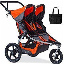 BOB - Revolution FLEX Duallie Double Jogging Stroller with Bag - Orange Silver