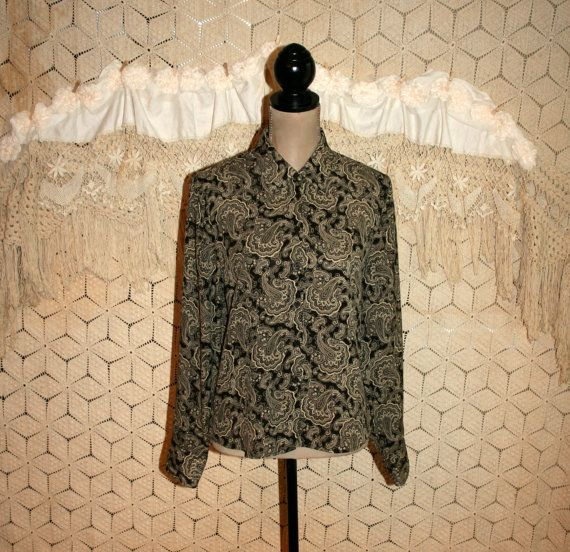 Paisley Blouse Silk Blouse Long Sleeve Button Up Boho Top Bohemian Blouse Black Print Blouse Jones New York Size 10 Medium Womens Clothing