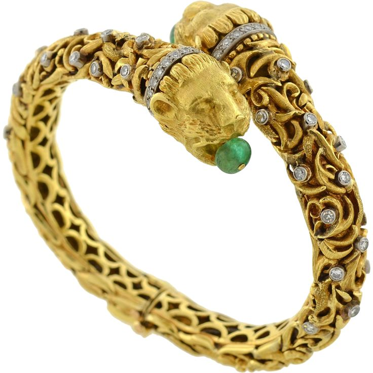 ZOLOTAS Vintage Emerald & Diamond Gold Lion Bracelet