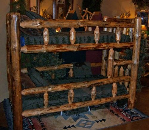 This Solid Log Bunk Bed Is Made From Pine Each Log Is Hand Peeled And Sanded This Rustic Bed Will Compliment Lodge Cabin Camp And Ranch Decors