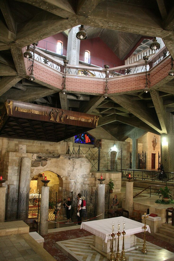 The interior of the Basilica of the Annunciation in Nazareth, the holy land.