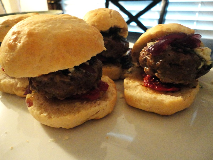 Bison Burgers With Cabernet Onions And Wisconsin Cheddar Recipe ...