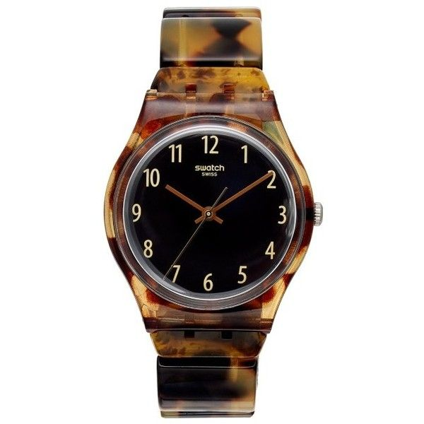 Swatch Ecaille Black Dial Brown Tortoise-shell Plastic Ladies Watch ($63) ❤ liked on Polyvore featuring jewelry, watches, swatch jewelry, plastic jewelry, analog wrist watch, water resistant watches and plastic watches