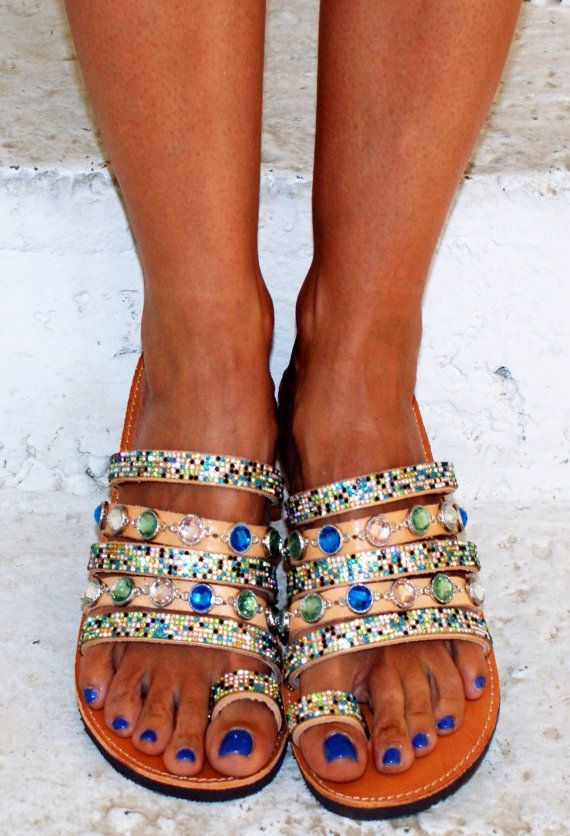Luxurious Sandals/Strappy sandals/ Toe ring by magosisters on Etsy