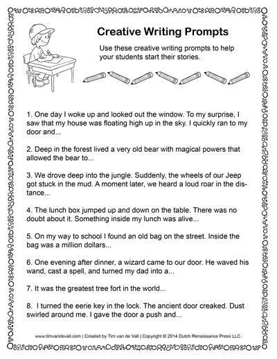 topics for creative writing for kids Creative writing prompts: 3rd grade winter edition creative writing for kids write on 12 personal narrative prompts all about you persuasive writing.