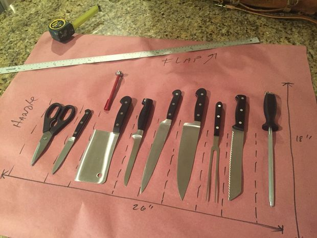 Picture of Arrange knives to determine how much leather you need