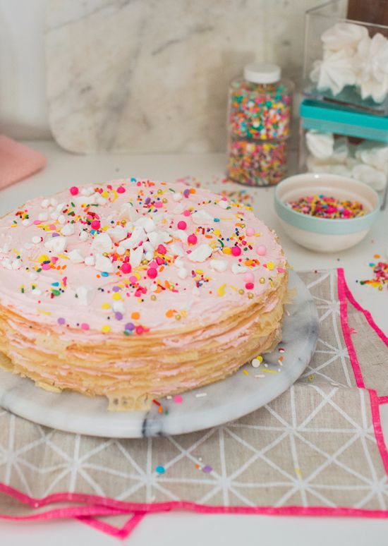 a funfetti crepe cake