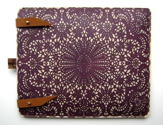 Leather iPad case lace design by tovicorrie on Etsy