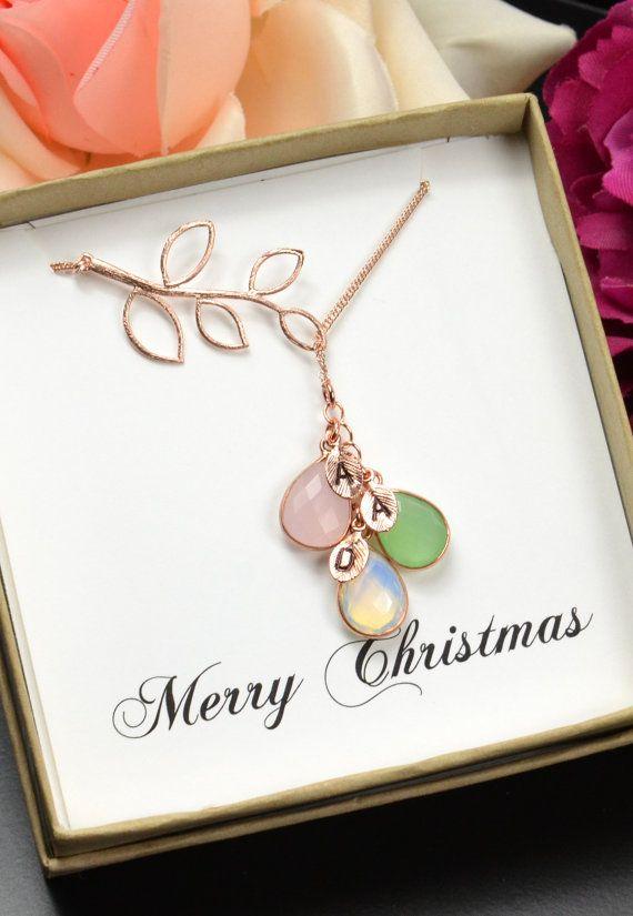 Aangepaste geboortesteen ketting voor moeder, vrouw, moeders Gift, Mama ketting, aangepaste ketting, familie ketting, Nana geschenk juwelen, Cascade