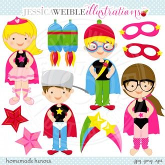 Homemade Heroes Cute Digital Clip Art