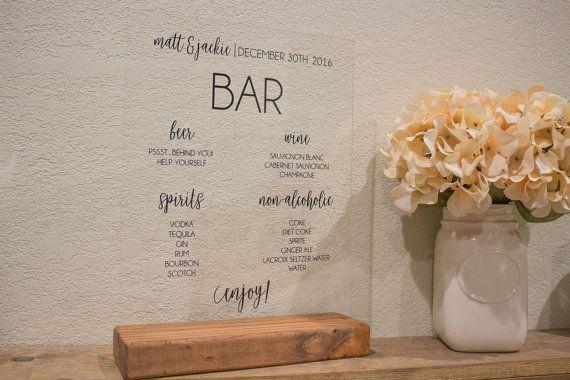 Bar Menu Wedding Bar Menu Sign Wedding Drink Menu Sign