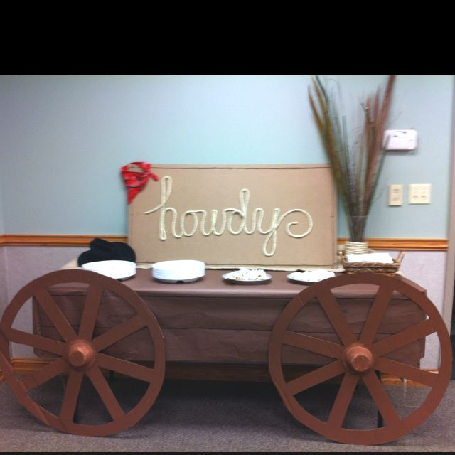 2 wheels and a table with brown table cloth make a wagon - love it                                                                                                                                                                                 More