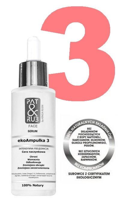 ekoAmpułka 3 PAT & RUB - serum dla cery naczynkowej.  Klik w fot. i przeczytaj, co dobrego i w jakim stężeniu zawiera ekoAmpułka wzmacniająca naczynka.