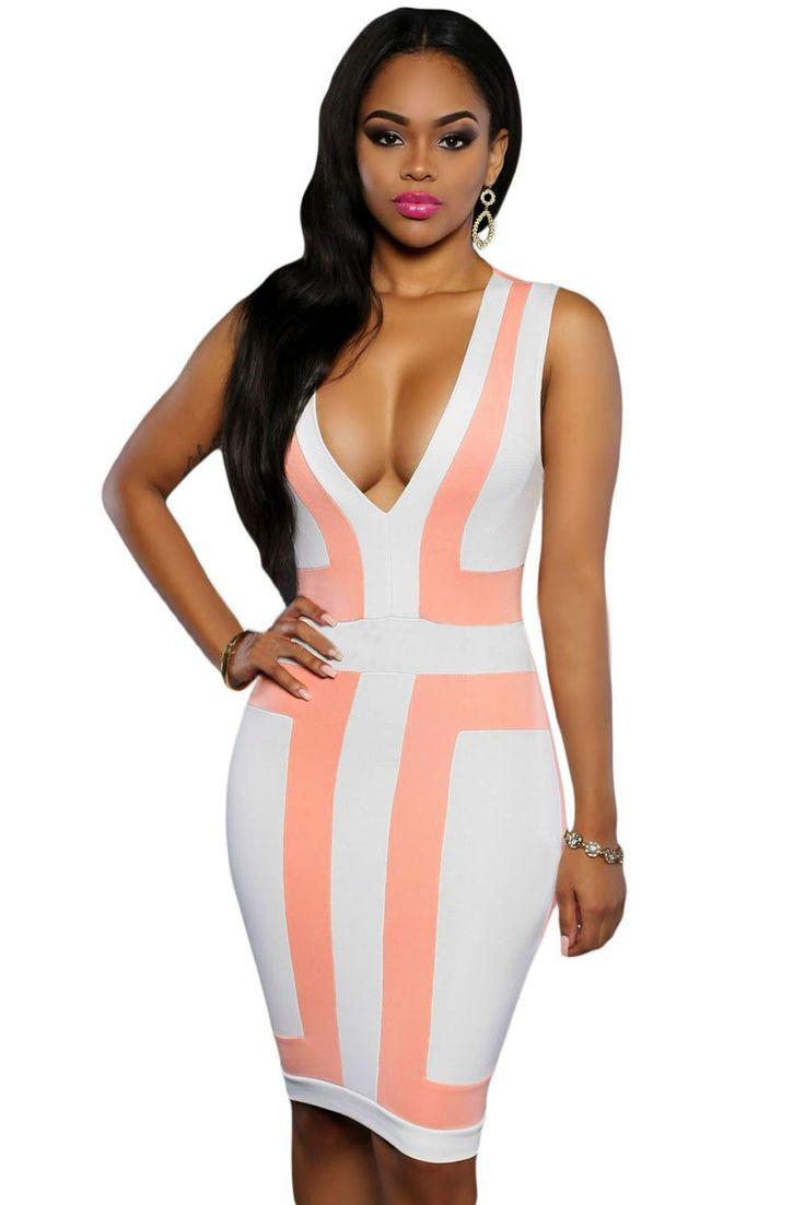 Prix: €12.16 Robes Moulantes Rose Blanc Color Block Col En V Robe Sans Manches Modebuy.com @Modebuy #Modebuy #me #sexy #Blanc #robes #dress #Rose #shoutout #mode #like4like #Jaune #comments4comments #instagood #skirt #likeforlike
