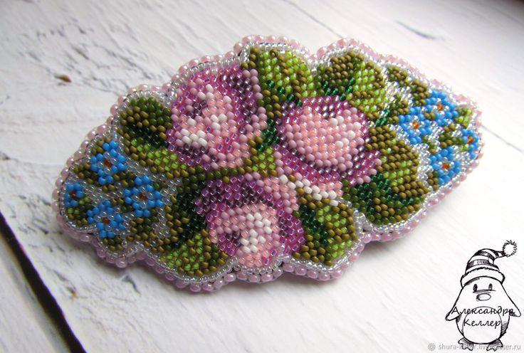 Купить Заколка-автомат Акварельные Розы. Вышивка бисером. - розовый, цветы, букет, розы, незабудки