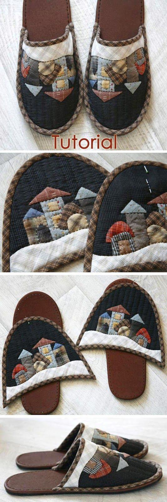 Sew cozy slippers. Quilting and patchwork. DIY tutorial in pictures. Шьем уютные домашние тапочки http://www.handmadiya.com/2015/09/patchwork-slippers-tutorial.html: