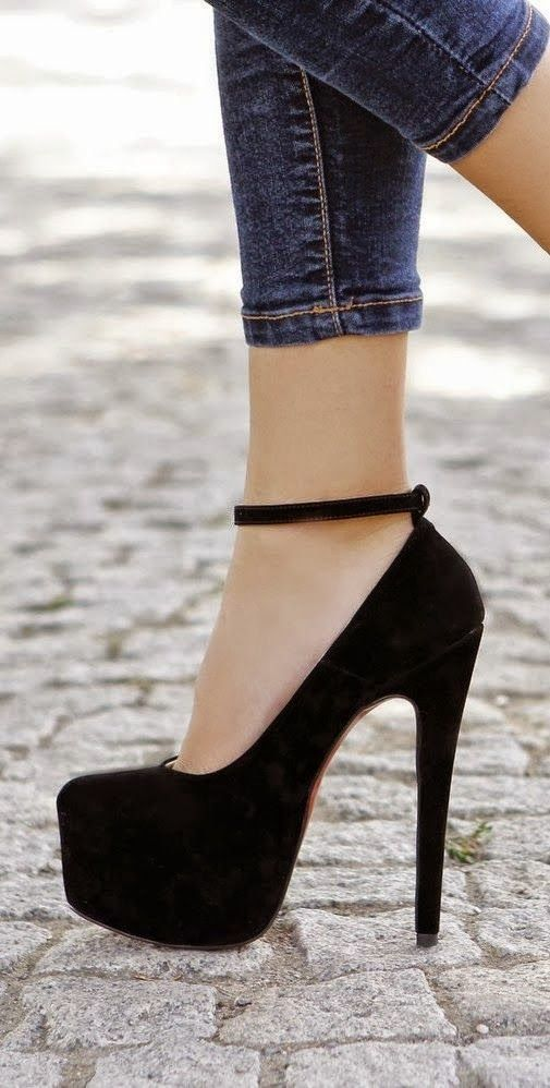 Gorgeous black high heel shoes fashion