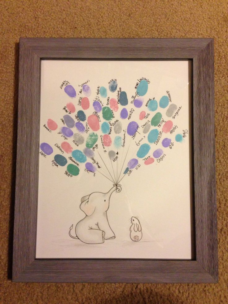 Baby Shower Guest Book Art - Shower Balloon thumbprint by MelissaWynneDesigns on Etsy