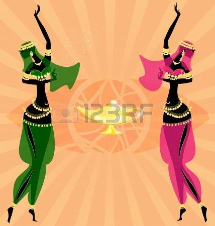 en el fondo abstracto son dos chicas orientales bailando Foto de archivo