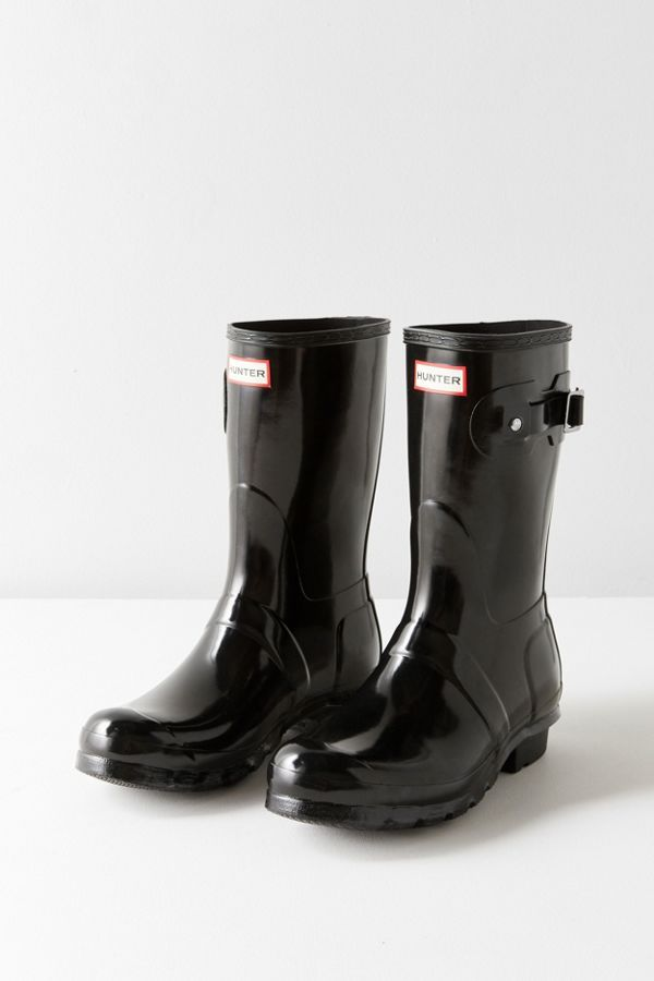 Hunter Original Short Gloss Buckled Rain Boot (With images