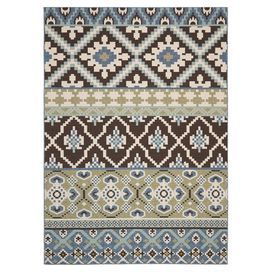 Loomed indoor/outdoor rug with a Southwestern-inspired motif. Made in Turkey.    Product: RugConstruction Material: PolypropyleneColor: Chocolate and blueFeatures:  Power-loomedMade in TurkeySuitable for indoor and outdoor useNote: Please be aware that actual colors may vary from those shown on your screen. Accent rugs may also not show the entire pattern that the corresponding area rugs have.Cleaning and Care: Sweep, vacuum or rinse off with a garden hose