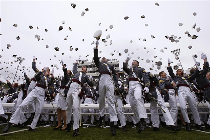Graduating cadets toss their caps into the air at the conclusion of their graduation ceremonies at the United States Military Academy at West Point, N.Y., on May 25. One thousand and seven cadets received diplomas as part of West Point's 215th graduating class, comprised of students from all 50 U.S. states and 15 foreign countries.