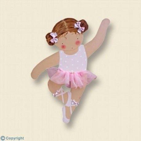 Silueta de madera personalizada. Niña bailarina-(mod.609). Un regalo de decoración infantil, para bebés y niños, artesanal y hecho a mano.