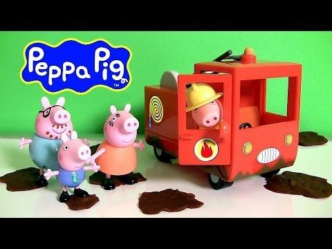 Peppa Pig Fire Truck Engine Car Using Play Doh Muddy Puddles il Camion dei Pompieri Play Dough