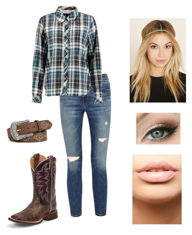 """""""Blue Ain't Your Color"""" by lindsseyk ❤ liked on Polyvore featuring Current/Elliott, Forever 21, Chelsea Flower, Ariat, Justin Boots and MDMflow"""