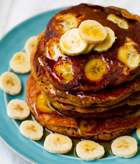 Peanut Butter Banana Oat Pancakes. Vegan.