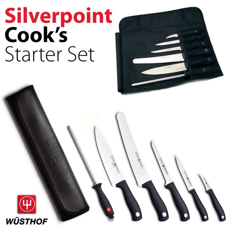 The Wüsthof Silverpoint Cook's Starter Set is the perfect starting point any budding chef. Popular with catering students it contains all the key kitchen knives in one handy knife roll.  WT9780/11 Contains: 7cm Peeling Knife, 12cm Utility Knife, 14cm Boning Knife, 23cm Confectioner's Knife, 20cm Cook's Knife, 23cm Sharpening Steel and an Empty 6-Slot Knife Roll.  www.inthehaus.co.uk/products/wt9780-11_wusthof_silverpoint_cooks_starter_set.php