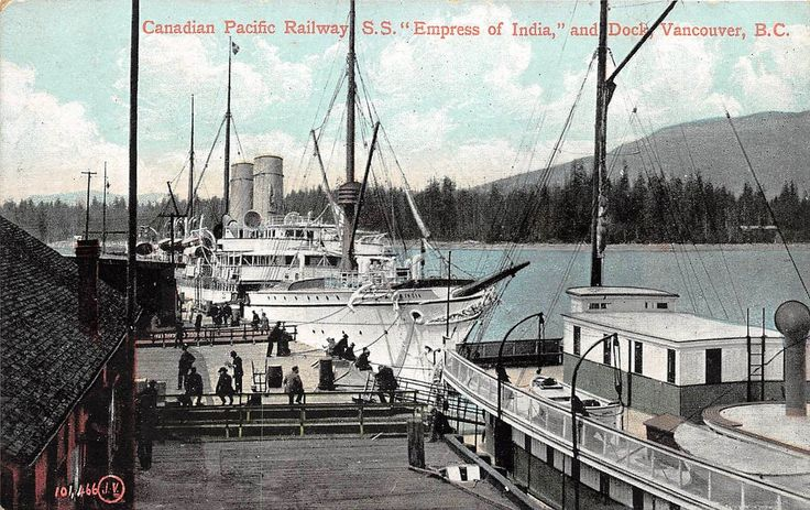 """Canadian Pacific Railway S.S. ""Empress of India,"" and Dock, Vancouver, B.C. 1907.. View looking west from the Vancouver (BC) Waterfront."