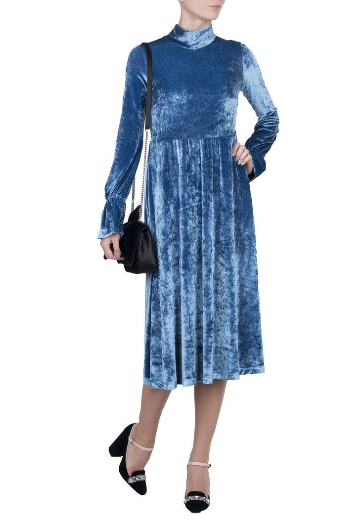 Голубое платье из бархата TWINSET – заказать в интернет-магазине по цене 24400 руб., арт. TA721B - ElytS.ru