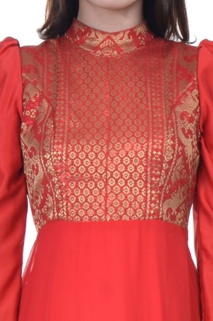 Long Red Dress Chiffon Satin with Songket