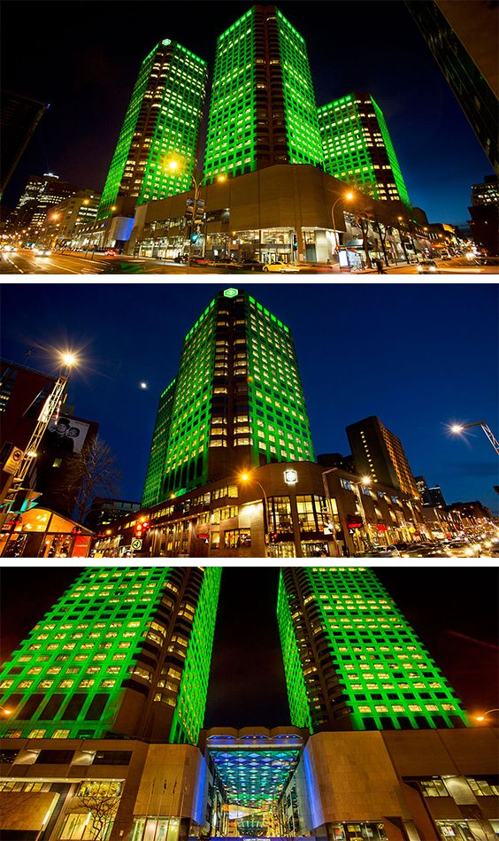 Complexe Desjardins External Illumination External illumination of the three towers of Complexe Desjardins. LED scheme, controlled via DMX control on a timeline.  lighting variations are created and evolves during the course of the evening.