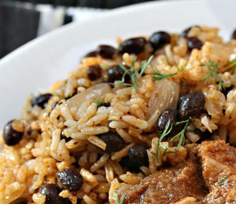 I have a ton of black beans I just cooked. This looks delicious, I just have to figure out what red sofrito is...