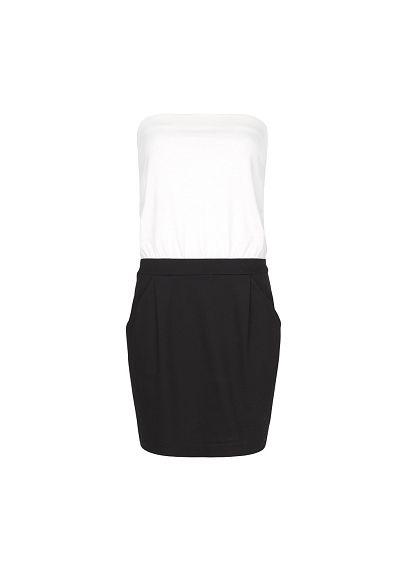 MANGO - Two-tone strapless dress