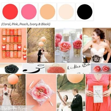 """Wedding color palette """"Pretty + Pink"""" (coral, pink, peach, ivory & black)"""