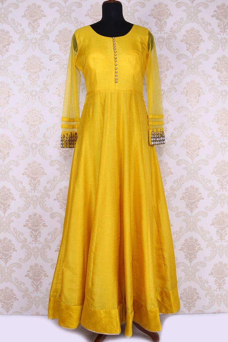 Yellow pure net & cotton silk fashionable anarkali with round neck -SL4817