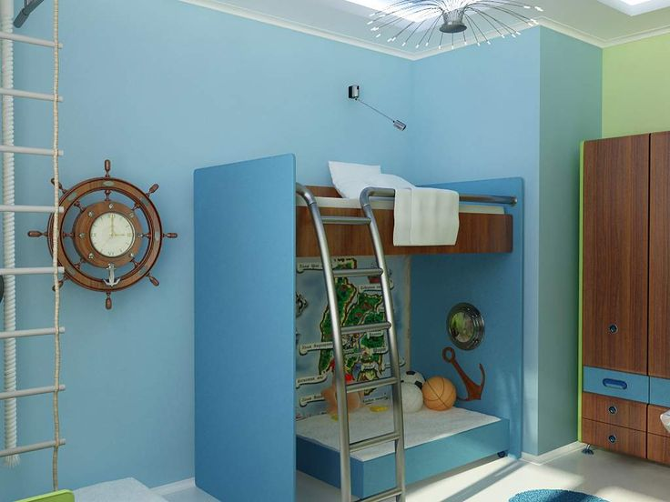 Choosing Some Best Little Boy Bedroom Ideas : Cool Sailor Bedroom Theme  With Bunk Beds And Stairs For Little Boy Bedroom Ideas